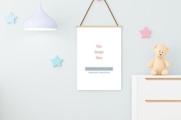Mockup poster frame in children room mockup in 3d rendering
