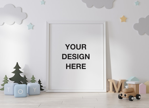 Mockup poster frame in children room rendering