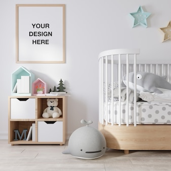 Mockup poster frame in children room