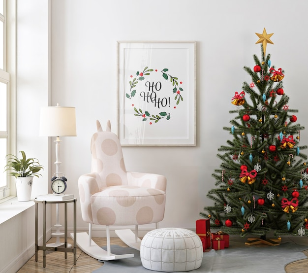 Mockup poster frame in christmas living room with christmas tree