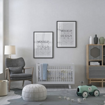 Mockup poster frame in contemporary white nursery room
