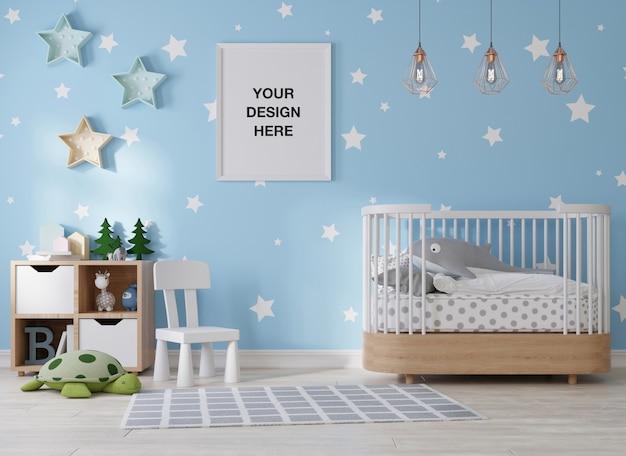 子供部屋の3dレンダリングのモックアップポスターフレーム