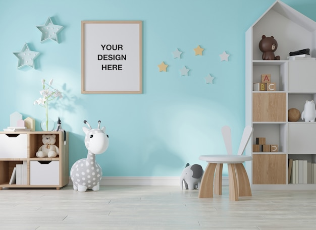 子供部屋子供部屋のモックアップポスターフレーム