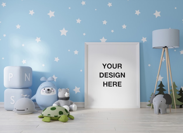 子供部屋のレンダリングのモックアップポスターフレーム