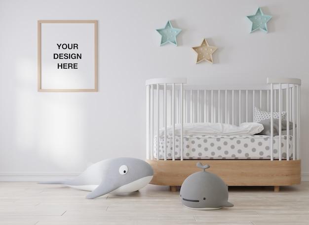 子供部屋のモックアップポスターフレーム