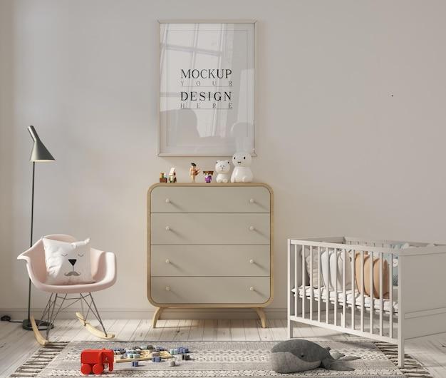 かわいい保育室のモックアップポスターフレーム