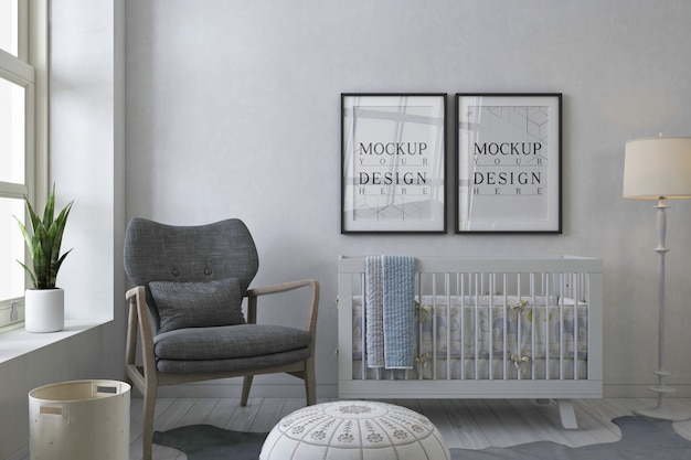 灰色の赤ちゃんの部屋のモックアップポスターフレーム