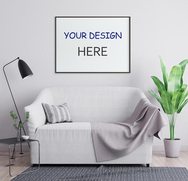 Рамка плаката макета в интерьере 3d иллюстрация