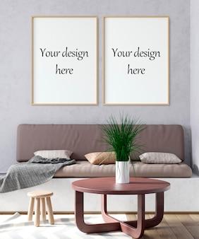 Рамка плаката макета в интерьере в 3d иллюстрации