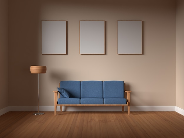 Рамка плаката макета в интерьере гостиной с диваном