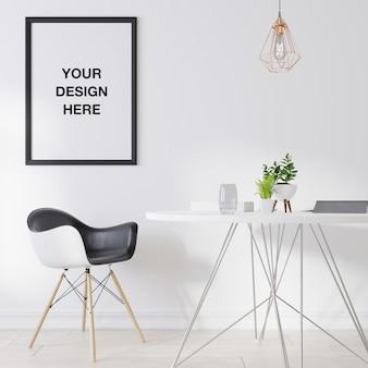 リビングルームのモックアップポスターフレーム