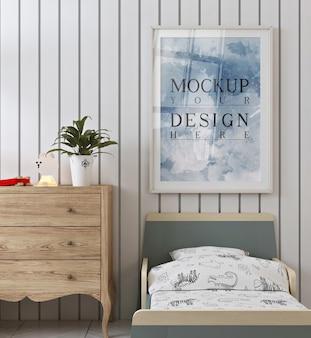 현대적이고 귀여운 아이 침실의 모형 포스터 프레임