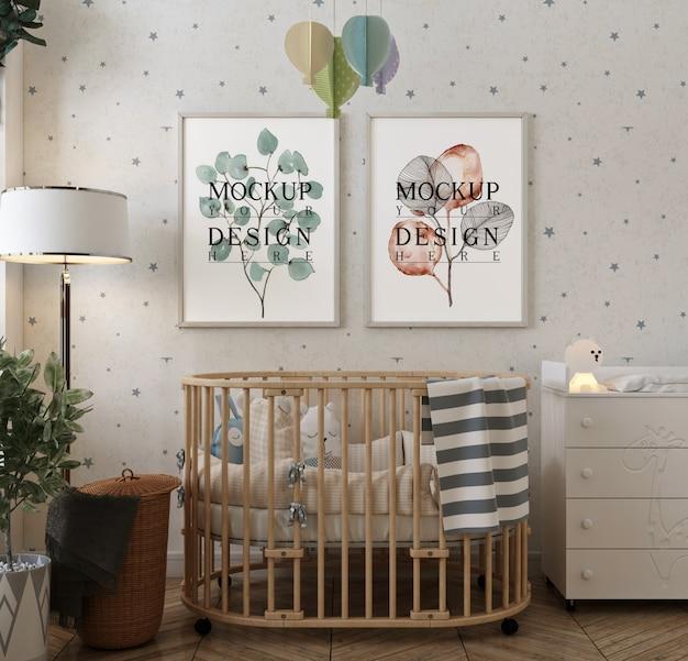 현대적이고 단순한 아기 방의 모형 포스터 프레임