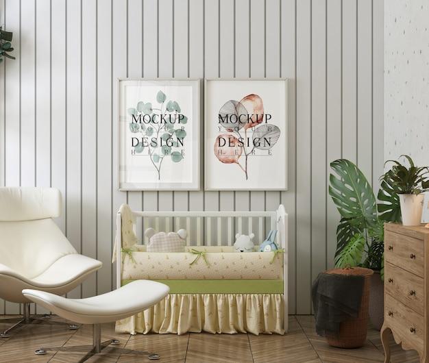 現代の赤ちゃんの寝室のモックアップポスターフレーム