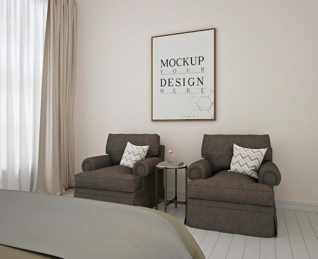 モダンなベッドルームのモックアップポスターフレーム