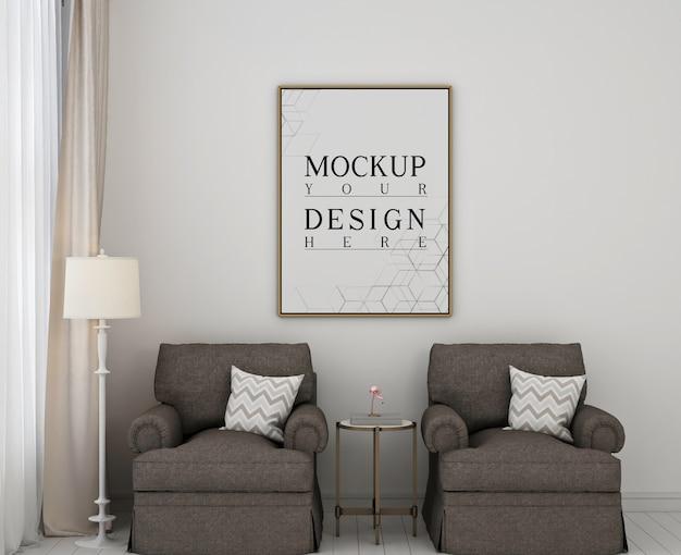 Рамка для макета плаката в современной классической спальне с 2 диванами