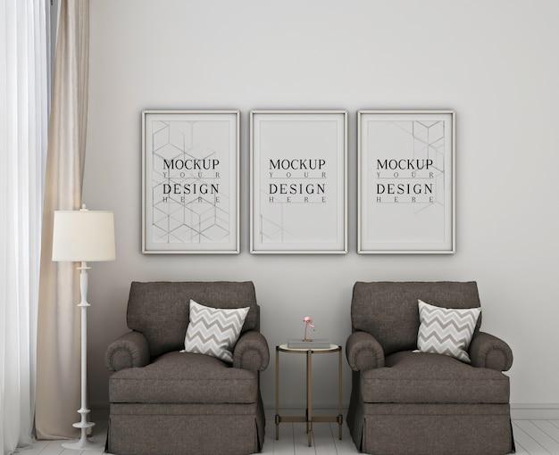 2つのソファとモダンなクラシックなベッドルームのモックアップポスターフレーム