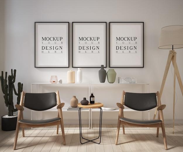 안락 의자가있는 현대 거실의 모형 포스터 프레임