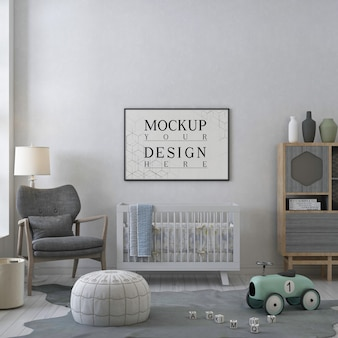 モダンな保育室のモックアップポスターフレーム