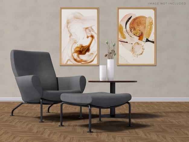 部屋のモダンなインテリアの空のフレームのモックアップポスターフレーム