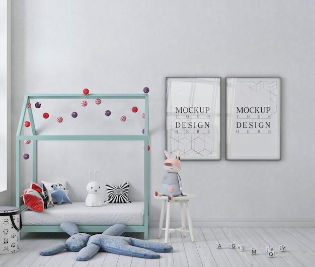 白い子供の寝室のモックアップポスターフレーム