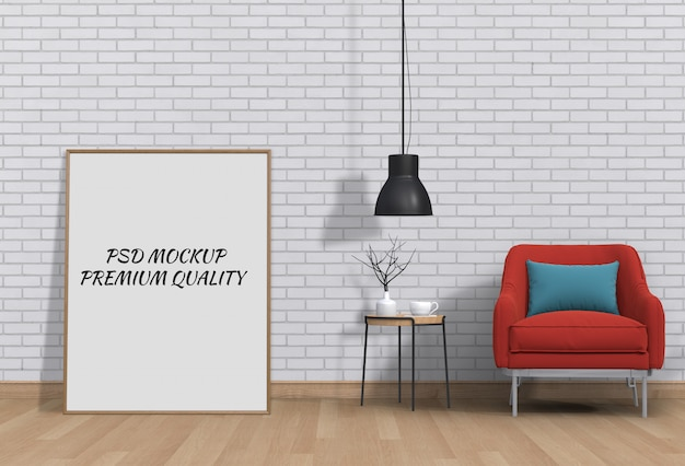 Mockup of poster frame in interior living room with armchair