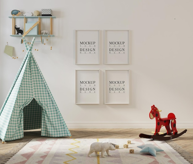 Mockup poster frame in kids playroom with tent