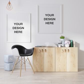 Mockup poster frame in living room