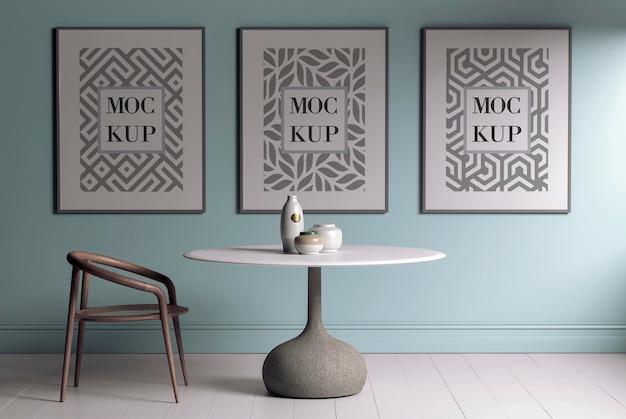 Mockup poster frame in modern interior