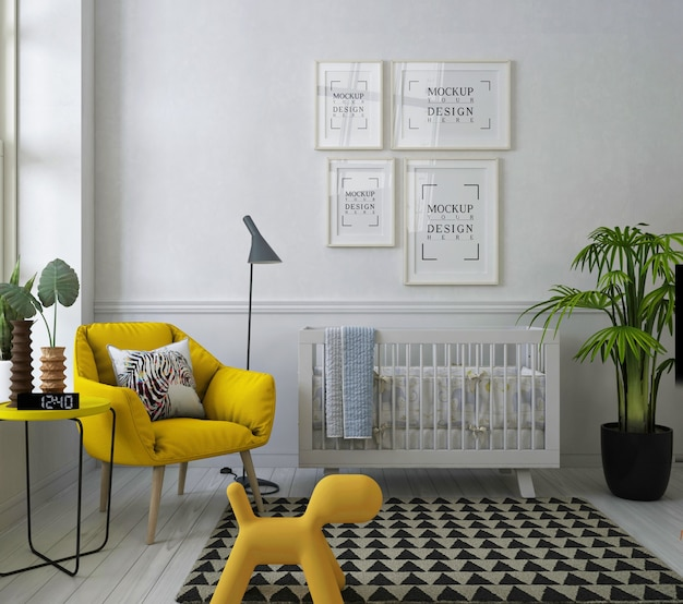 Mockup poster frame in modern nursery room with yellow armchair