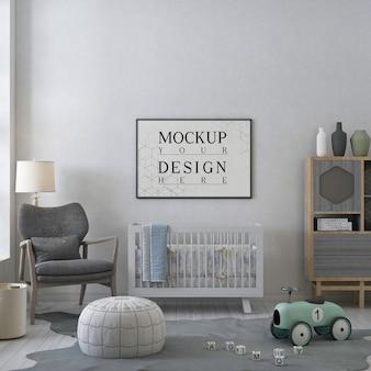 Mockup poster frame in modern nursery room