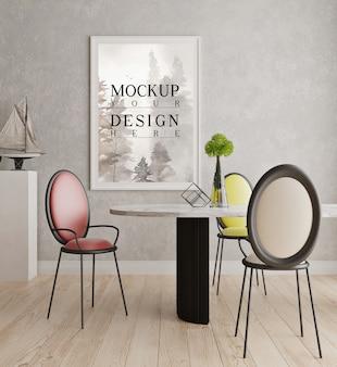 Mockup poster frame in modern white dinning room
