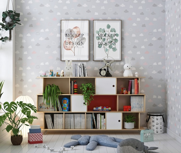 Mockup of poster frame in nursery room with books