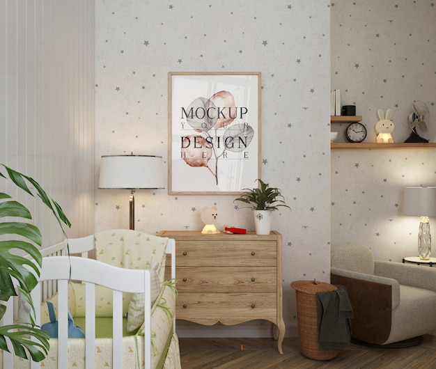 Mockup poster frame in simple white baby's bedroom