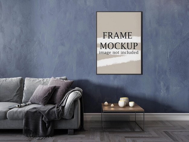 Mockup poster frame on wall for your ideas