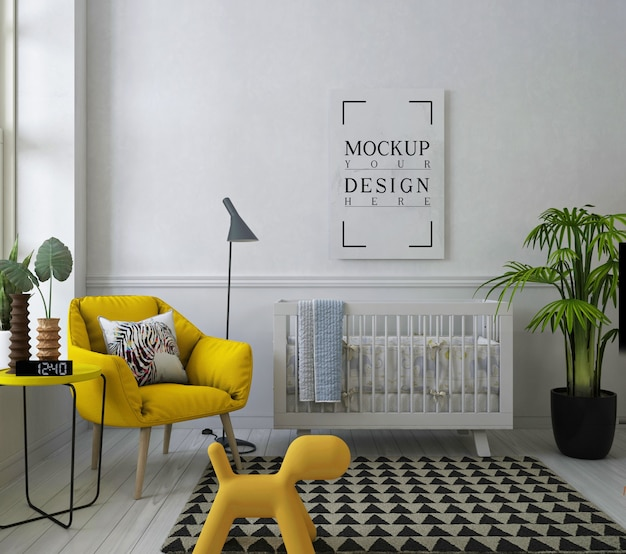 Mockup poster frame in white nursery room with armchair