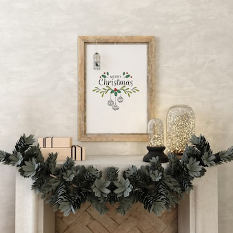 Mockup poster frame with christmas tree and decoration