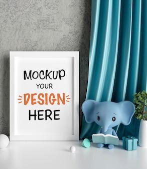 베이비 샤워 3d 렌더링을위한 귀여운 코끼리와 모형 포스터 프레임