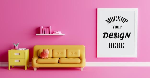 귀여운 돼지 인형 3d 렌더링 인테리어 디자인 모형 포스터 프레임