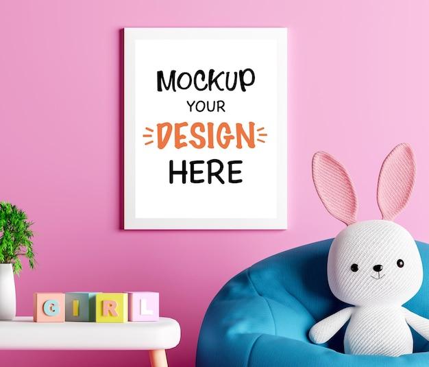 베이비 샤워 3d 렌더링을위한 귀여운 토끼와 모형 포스터 프레임