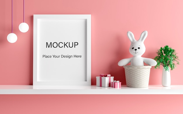 Макет рамки плаката с милым кроликом для душа ребенка 3d рендеринга