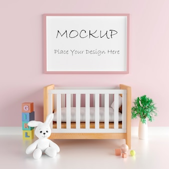 Mockup poster frame with cute rabbit for a girl baby shower 3d rendering