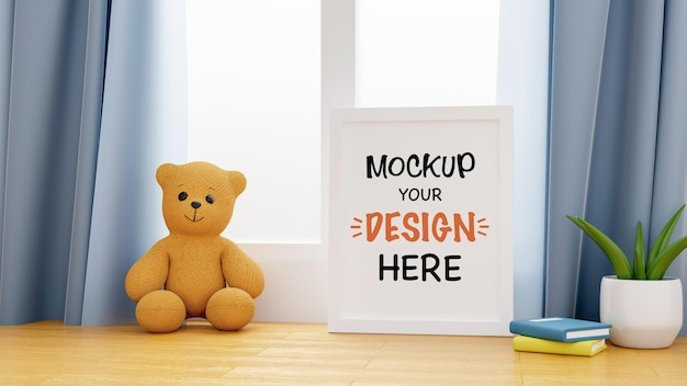 Mockup poster frame with cute teddy bear for a baby shower 3d rendering