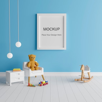 Mockup poster frame with cute teddy bear for a boy baby shower 3d rendering Premium Psd