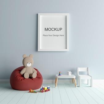 소년 베이비 샤워 3d 렌더링을위한 귀여운 테디 베어와 함께 모형 포스터 프레임