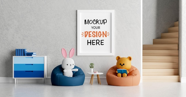 Mockup poster frame with cute teddy bear and rabbit for a baby shower 3d rendering