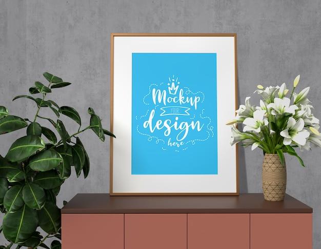 거실 현대적인 인테리어에 홈 장식과 모형 포스터 프레임. 바로 사용할 수있는 목업