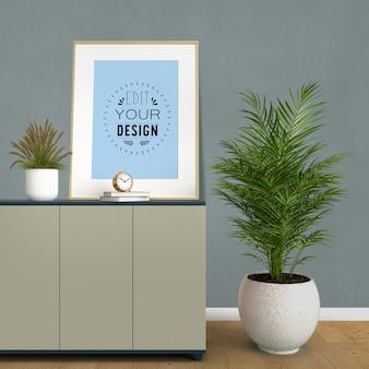 Рамка-макет плаката с украшением дома в современном интерьере гостиной.
