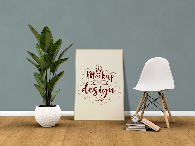 거실 현대적인 인테리어에 홈 장식과 모형 포스터 프레임.