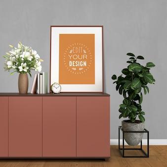 Mockup poster frame con decorazioni per la casa negli interni moderni del soggiorno.